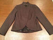 AKRIS Women's Size 6/Small Brown Wool/Silk Blend Short-Crop BLAZER JACKET