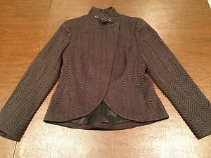 AKRIS Women's Size 6/Small Brown Wool/Silk Blend Short-Crop BLAZER JACKET