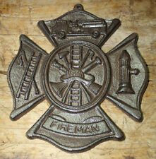 Cast Iron FIREMAN Plaque Firefighter Symbol Wall Decor Maltese Cross Rustic