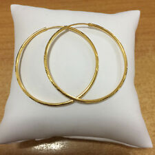 EXCELLENT! 22K THAI BAHT SOLID GOLD HOOP EARRINGS SIZE 1.25 INCH.!!