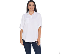 Side Stitch Women's Collared Tencera Button-up Roll-Tab Top (White, 2XS) A299018
