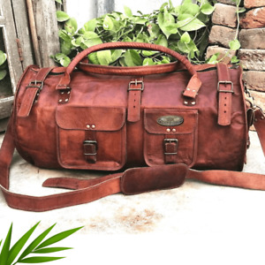 NEW Real Brown Vintage Holdall Leather Travel Luggage Duffle Bag 26 INCH