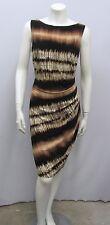 ANNE KLEIN DRESS NWT TYE DYE STRETCHY DRAPED COCONUT MULTI BROWN IT 46 US 12 10