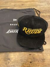 Rhude x Lakers x New Era Snapback Hat Black Gold Corduroy RARE