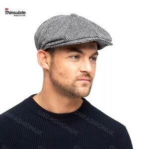 Mens 3M Thinsulate Newsboy Cap 8 Panel Grey Herringbone Flat Hat Peaky Blinders
