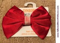 Gymboree NWT 1-pc Red GLITTER CENTER SATIN BOW DRESS HAIR ACCESSORY ~ One Size