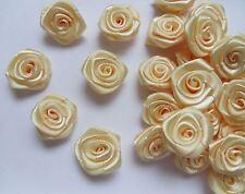 "3/4"" Ivory Satin Ribbon Roses Flowers Wedding Appliques Lots of 50pcs (R0017I)"
