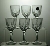 LOVELY VINTAGE CUT GLASS CRYSTAL SHERRY GLASSES SET OF 6
