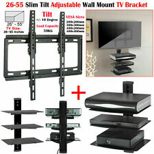 "26"" - 55"" Tilt TV Wall Bracket Mount with 3 Tier Glass Shelf DVD Player Sky Xbox"