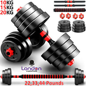 FITNESS WEIGHTS BARBELL DUMBBELL BODY BUILDING WEIGHT LIFTING SET 10/15/20KG