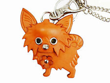 Chihuahua Handmade Leather Dog Keychain Bag Charm VANCA Made in Japan #26043
