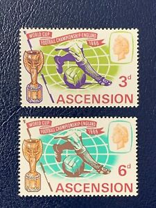 Ascension 1966 World Cup Soccer Issue SG 95 & 96 Scott 100 & 101 MNH