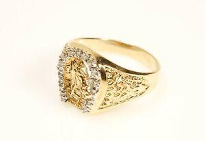 Men's Diamond Horseshoe Ring 10K Yellow Gold Size 10