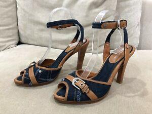 Womens KAREN MILLEN Blue/Brown Leather Denim Heels Size EUR 40 [WF1]