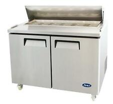 """ATOSA MSF8302 48"""" 2 DOOR SANDWICH PREP TABLE REFRIGERATED w/ CASTERS & PANS"""