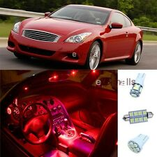 9Pcs Red Door Lights Interior LED Package Kit For Infiniti G37 Coupe 2008-2014