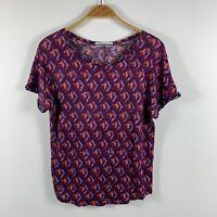 Promod Womens Top Size 10 Short Sleeve Purple Pink Geometric Sequin Sleeves