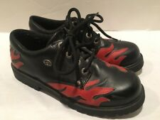 Harley Davidson Motorcycle Ankle Boots Black Leather Women's Size 6 Red Flames A