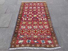 Old Traditional Hand Made Persian Gabbeh Oriental Wool Red Rug 197x115cm
