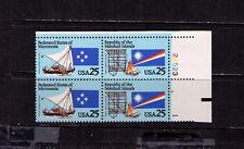 US USA Sc# 2507a MNH FVF PLATE # BLOCK Micronesia Marshall ISL Flags Boat Canoe