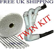 "Manifold Heat Shield Wrap 2"" White Fibre Glass Woven Tape bandage Exhaust 2 KITS"