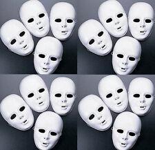 Lot of 24 + MASKS White Plastic Full Face Decorating Craft Halloween School