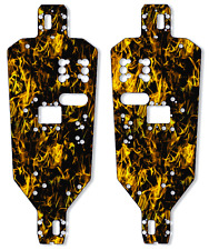 HPI RACING RS4 Chassis Plate Protector Kit - Dark Yellow Flames - 6061