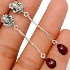 Frog - Garnet 925 Sterling Silver Earring Jewelry Be28222