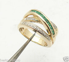 Natural Diamond & Emerald Crossover Ring Real Solid 14K Yellow Gold 9.2gr