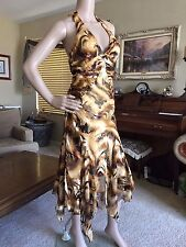 Nordstrom Mary L Couture Womens Silk Rouched Sexy Halter Dress sz 4