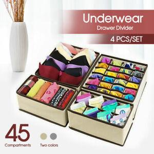 4 PCS/SET Foldable Storage Drawer Organizer Bra Underwear Closet Divider Kit AU