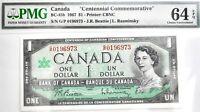 """1967 Canada $1 Note """"Centennial Issue"""" BC-45b PMG Choice UNCIRCULATED 64 EPQ"""