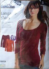 2 x Damen Langarmshirt * S 36/38 * Orange / Bordeaux  * esmara * OVP