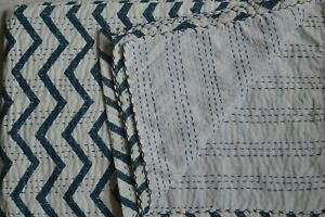 King Size Hand Block Indian Hand Block Striped Kantha Quilt Cotton Bedspread**