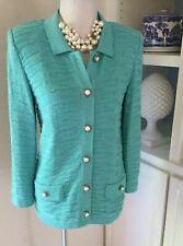 Mita Jacket, Size 8 Petite, Turquoise Knit, Pearl Buttons, Santana Knit