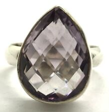 Sterling Silver Solitaire Translucent Faceted Pear Purple Amethyst Cocktail Ring