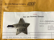Soo Line Railroad Special Police Obsolete Star Badge (Badge #16) w/ INVOICE