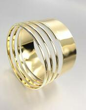 CHIC & STYLISH Artisanal Gold Metal Ribbed Coiled Bangle Bracelet