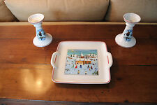 Villeroy and Boch Naif Christmas Pair of Candlesticks with Serving Dish Perfect!