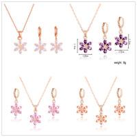 Women's Jewelry Set CZ 18k Gold Plated Austrian Crystal Flower Necklace Earrings