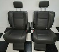 2004-2008 Nissan Armada Rear 2nd Row Gray Leather Seats Pair CHECK DESCRIPTION