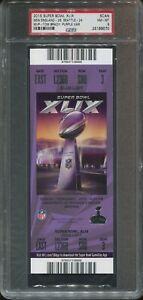 2015 Super Bowl XLIX Scan Ticket Patriots psa 8 Nm-Mt   Tom Brady MVP