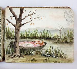 Antique Late Victorian 1899 - 1900's Autograph Book / Art Painting Watercolours