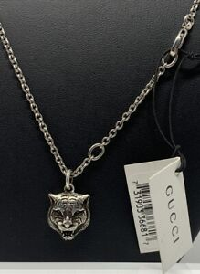 "Gucci Sterling Cat Pendant Necklace Fierce Feline 22"" Chain New with Tags"