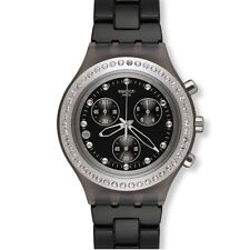 Swatch Irony Full Blooded Stoneheart Silver Chrono Date Watch 43mm SVCM4009AG