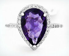 GENUINE 2.48 Cts AMETHYST & WHITE SAPPHIRE RING .925 Sterling Silver * Size 7.25