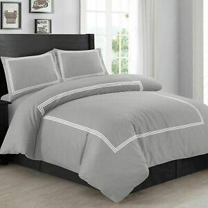 Luxury Embroidered Beretta Stitch Duvet Quilt Cover Bedding Set Double Grey