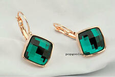 unique Earrings  18K rose Gold GP green Austria Crystal women italina earring