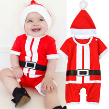 2PC Infant Baby Girl Boy Christmas Costume Santa Claus Hat+Romper Outfit Clothes
