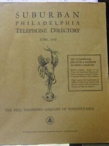 Suburban Philadelpia Telephone directory cover from 1949